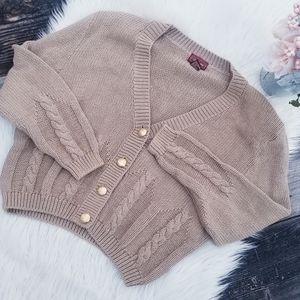 Vintage Worthington cable knit tan crop cardigan